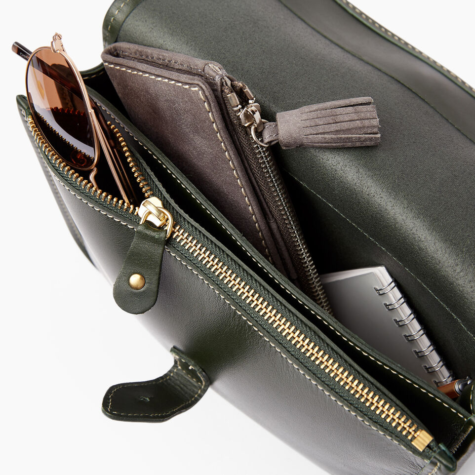 Roots-Clearance Leather-Sandys Bag Heritage-Hunter Green-D