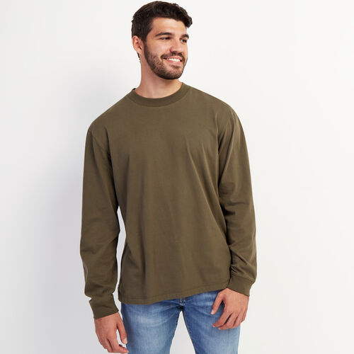 Roots-Men Long Sleeve Tops-Utility Boxy Long Sleeve Top-Fatigue-A