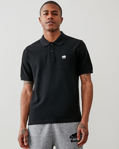 Roots-Men Clothing-Heritage Pique Polo-Black-A