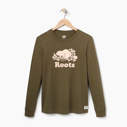Roots-Women Graphic T-shirts-Womens Flocked Cooper Longsleeve T-shirt-Dusty Olive-A