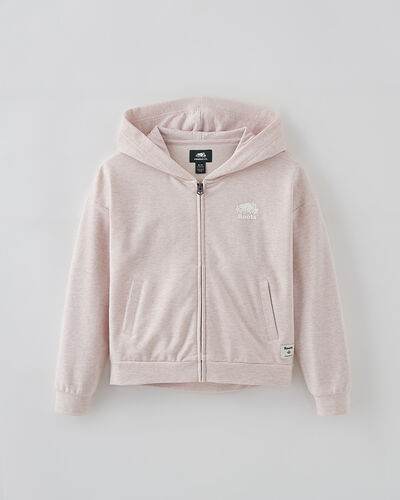 Roots-Kids Tops-Girls Woodland Full Zip Hoody-Pale Mauve Mix-A