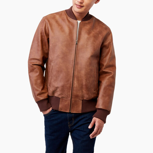 Roots-Men Leather Jackets-Commander Jacket Tribe-Natural-A