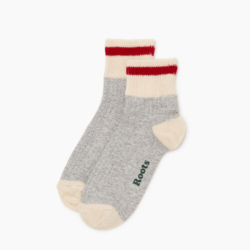Roots-Women Accessories-Womens Cotton Cabin Ankle Sock 2 Pack-Grey Mix-A