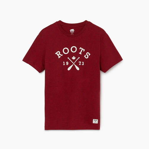 Roots-Men Graphic T-shirts-Mens Roots Paddles T-shirt-Cabin Red Mix-A