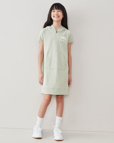 Roots-Kids Girls-Girls Dockside Hooded Dress-Desert Sage Pepper-A