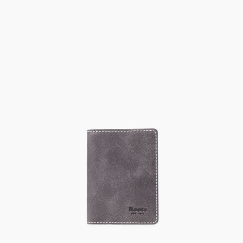 Roots-Leather  Handcrafted By Us Tribe Leather-Card Case With Id Tribe - Colour Block-Charcoal-A