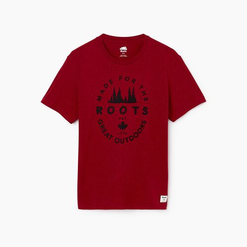 Roots-Men Our Favourite New Arrivals-Mens Great Outdoors T-shirt-Cabin Red Mix-A