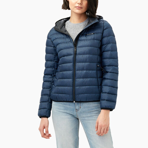 Roots-Women Outerwear-Roots Packable Down Jacket-Navy Blazer Pepper-A