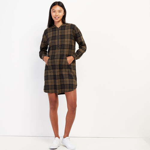 Roots-Women Dresses & Jumpsuits-Kingston Plaid Dress-Fatigue-A