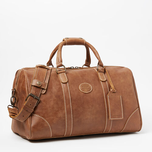 Roots-Leather Weekender Bags-Small Banff Bag-Natural-A