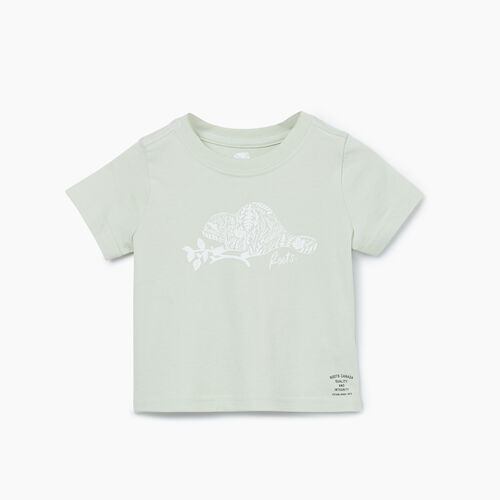 Roots-Kids T-shirts-Baby Woodland Animal T-shirt-Sea Foam-A