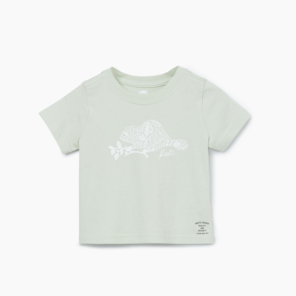 Roots-Kids New Arrivals-Baby Woodland Animal T-shirt-Sea Foam-A