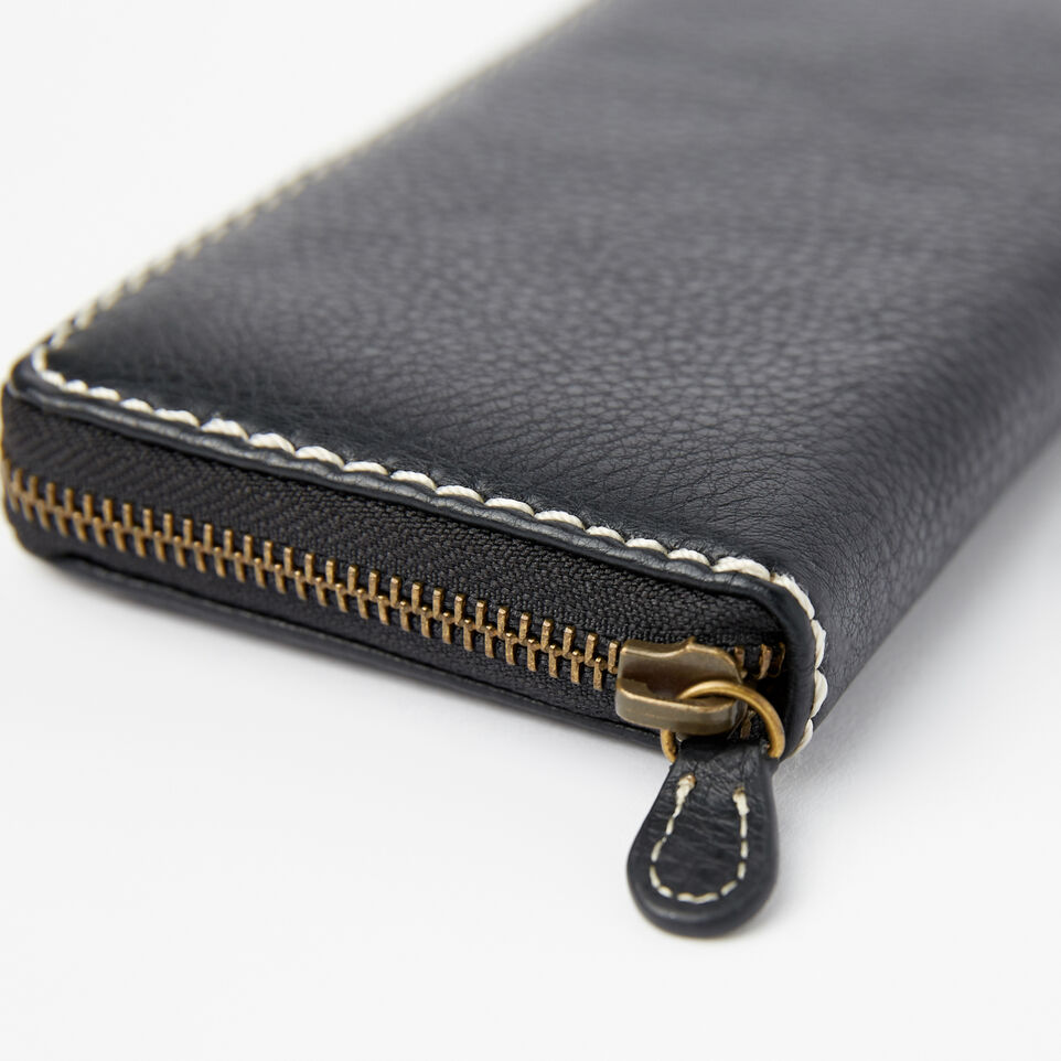 Roots-Leather Wallets-Zip Around Clutch-Black-D