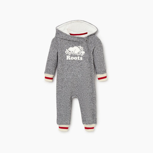 Roots-New For December Kids-Baby Roots Cabin Romper-Salt & Pepper-A