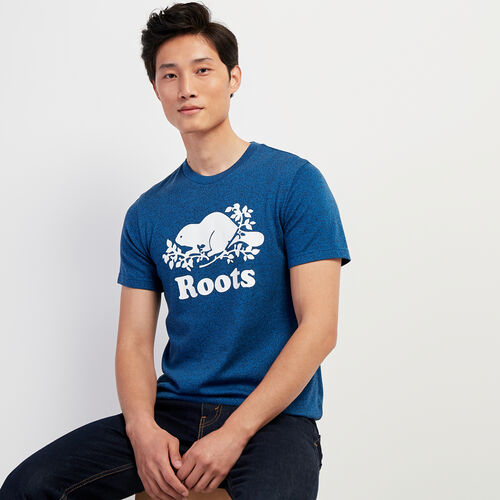 Roots-Men New Arrivals-Mens Cooper Beaver T-shirt-Classic Blue Pepper-A