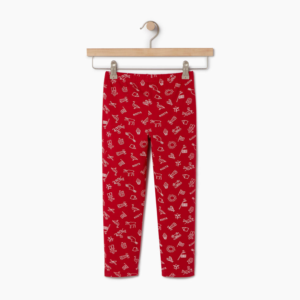 Roots-Clearance Kids-Girls Canada Aop Legging-Sage Red-B