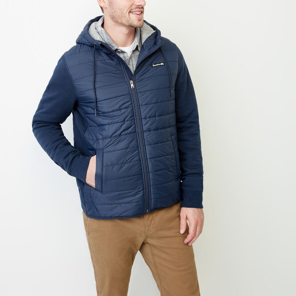 Roots-Men Categories-Roots Hybrid Hooded Jacket-Navy Blazer-A
