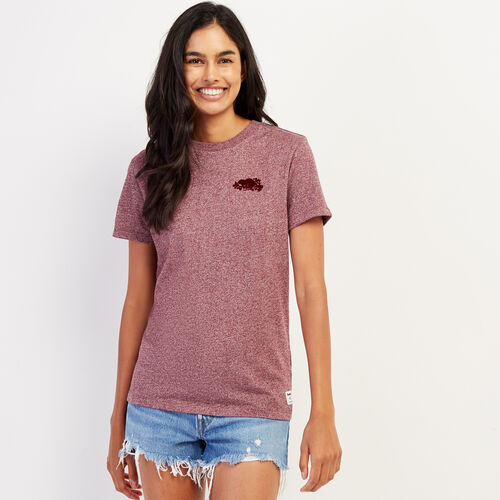 Roots-Women Graphic T-shirts-Womens Remix T-shirt-Mulberry Pepper-A