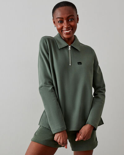 Roots-Sweats Sweatsuit Sets-Camp Polo Sweatshirt-Pine Green-A