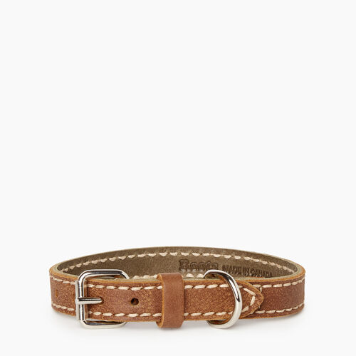 Roots-Leather Leather Accessories-Extra Small Leather Dog Collar-Natural-A