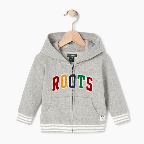 Roots-Kids Categories-Baby Roots Varsity Full Zip Hoody-Grey Mix-A