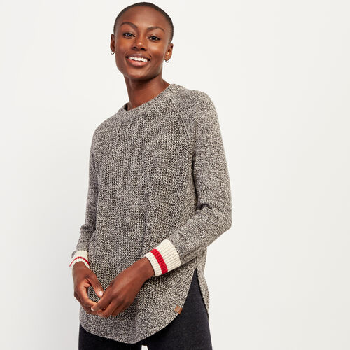 Roots-Women Sweaters & Cardigans-Roots Cotton Cabin Waffle Crew Sweater-Grey Oat Mix-A