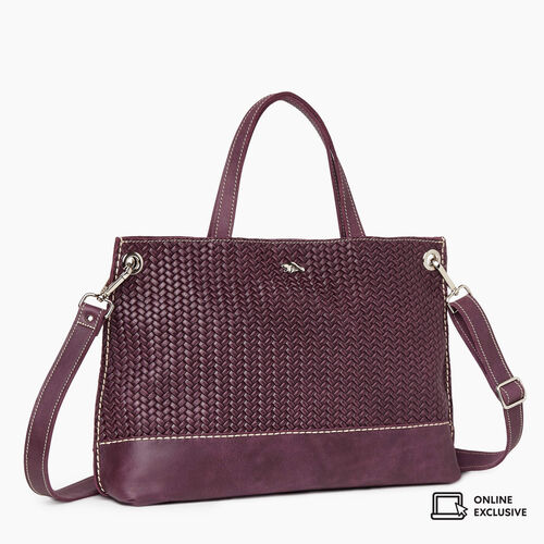 Roots-Leather Crossbody-Edie Tote Woven-Deep Purple-A
