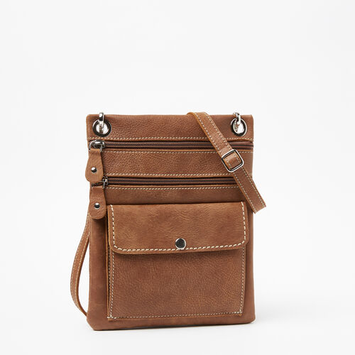 Roots-Leather  Handcrafted By Us Handbags-Urban Pouch Tribe-Natural-A