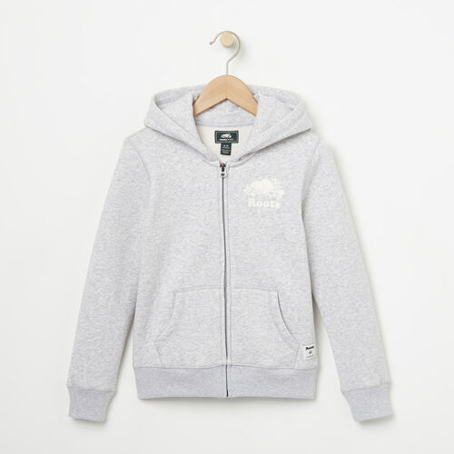 Roots-Sale Kids-Girls Original Full Zip Hoody-Snowy Ice Mix-A