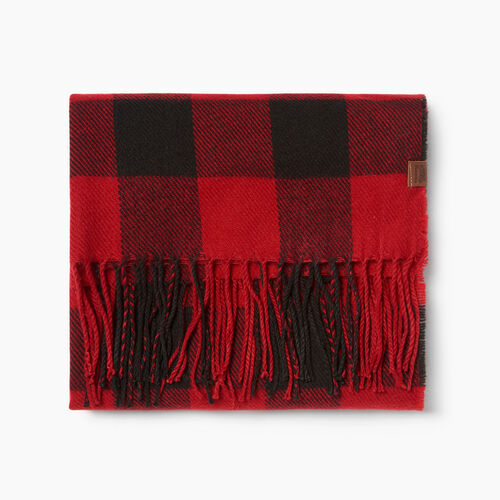 Roots-Men Accessories-Roots Plaid Scarf-Cabin Red-A