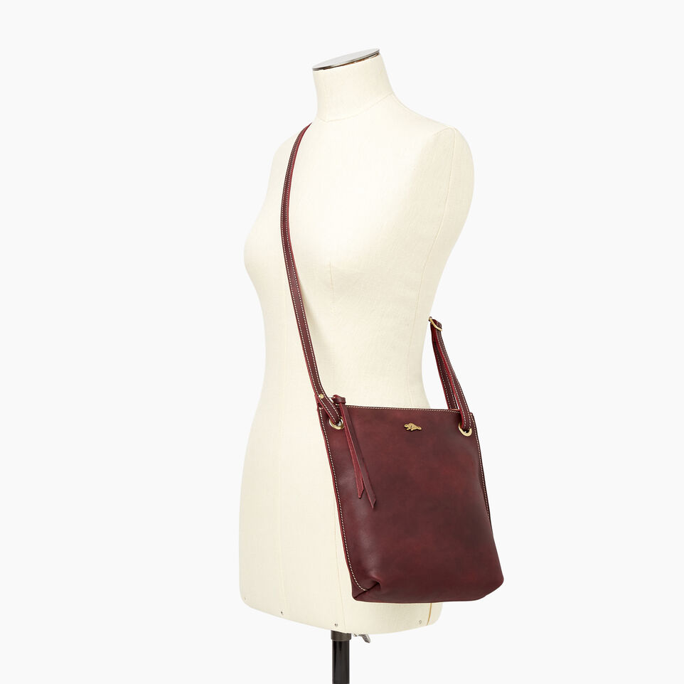 Roots-Leather  Handcrafted By Us Handbags-Festival Bag Tribe-Crimson-B
