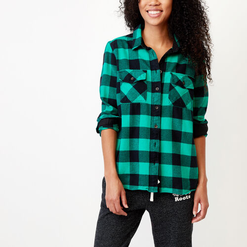 Roots-Winter Sale Women-Park Plaid Shirt-Vivid Green-A