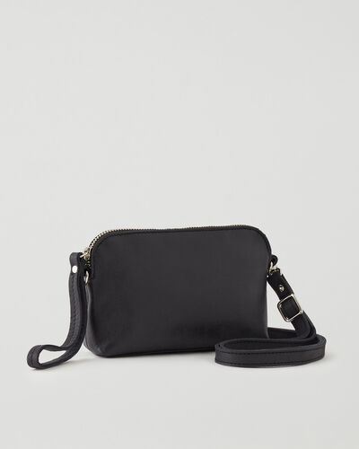 Roots-Leather Leather Bags-Christie Crossbody Tribe-Jet Black-A