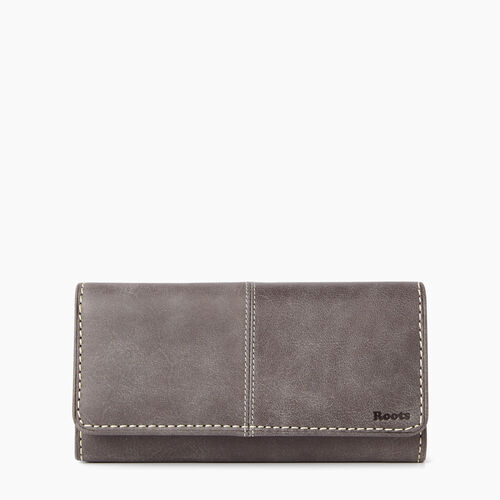 Roots-Winter Sale Women-Large Chequebook Clutch Tribe-Charcoal-A