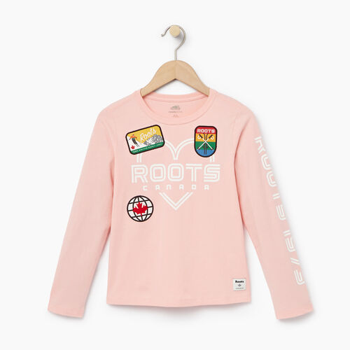 Roots-Kids Our Favourite New Arrivals-Girls Ski Patch T-shirt-Light Pink-A
