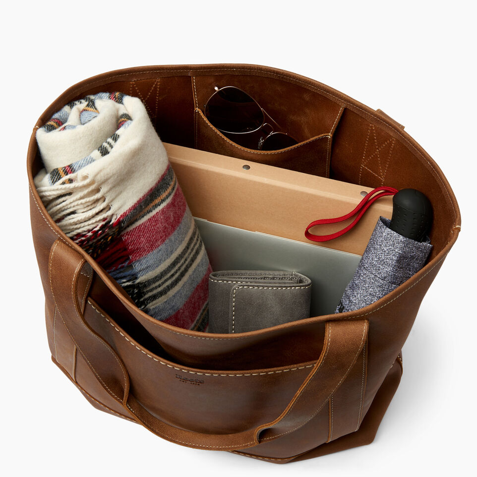 Roots-Leather  Handcrafted By Us Handbags-Muskoka Tote-Natural-D
