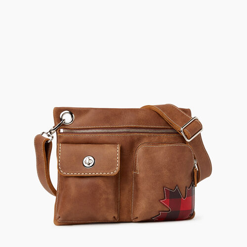 Roots-Women Crossbody-Park Plaid Canada Village Bag-Natural-A