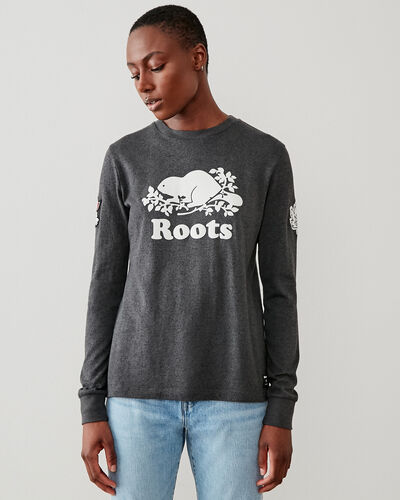 Roots-Women Graphic T-shirts-Mt Tremblant Long Sleeve T-Shirt-Black Pepper-A