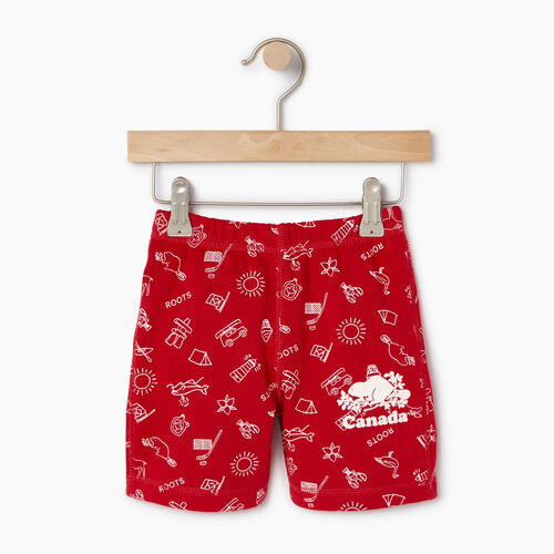 Roots-Kids Bottoms-Toddler Canada Roots Aop Short-Sage Red-A