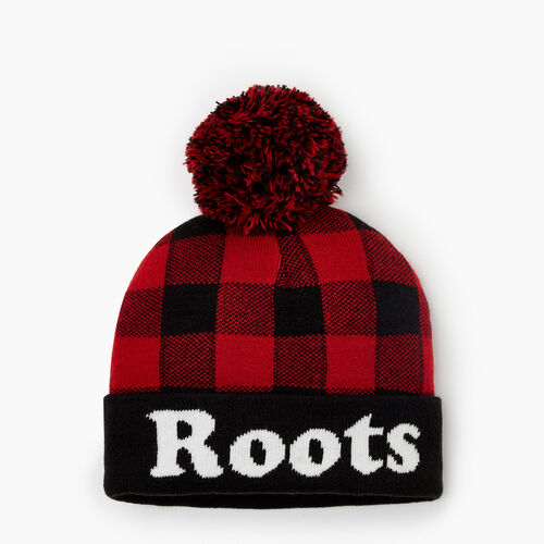 Roots-New For October Kids-Toddler Park Plaid Toque-Cabin Red-A