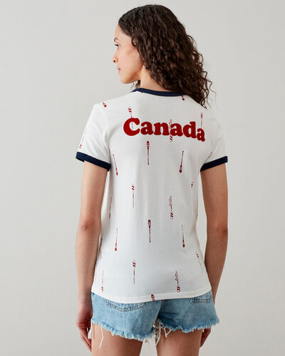 Roots-Women Tops-Womens Canada Paddles Ringer T-shirt-Ivory-A