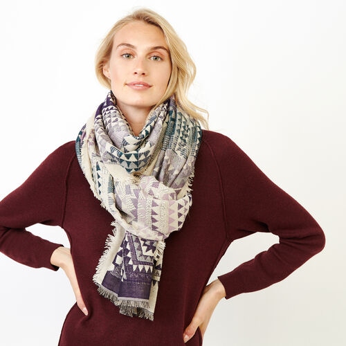 Roots-Women Categories-Mabel Scarf-Navy-A
