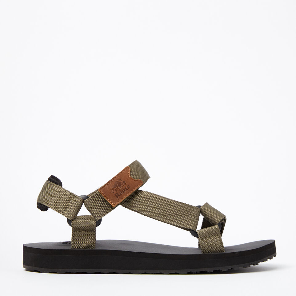 Roots-Clearance Footwear-Mens Tofino Sandal Web-Fatigue-A