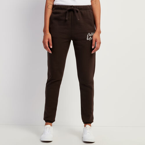 Roots-Women Bottoms-Outdoors Slim Cuff Sweatpant-Coffee-A