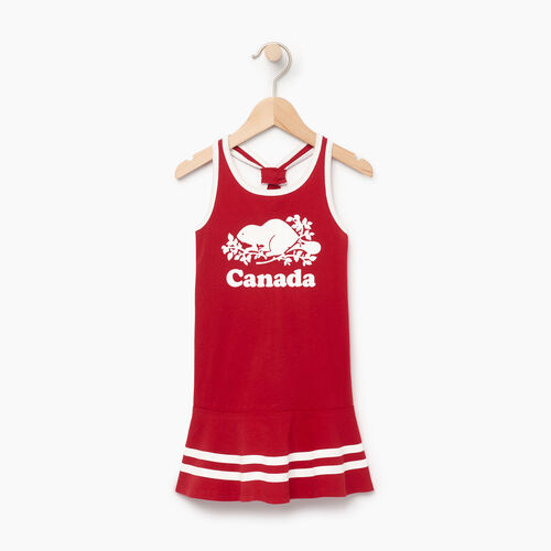 Roots-Kids Canada Collection-Toddler Canada Tank Dress-Sage Red-A