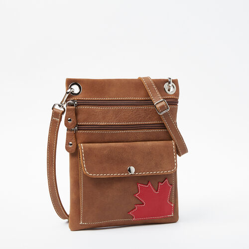 Roots-Leather  Handcrafted By Us Handbags-Trans Canada Urban Pouch Tribe-Natural-A
