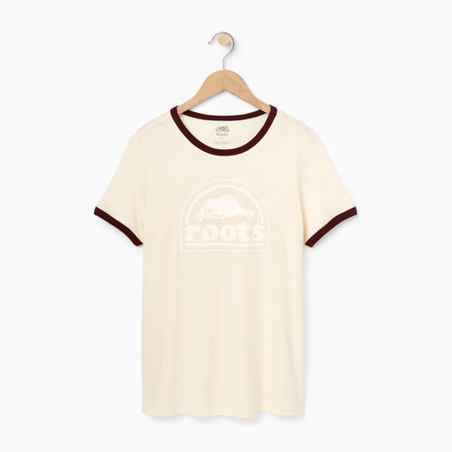 Roots-Sale Women-Womens Roots Vault Ringer T-shirt-Ecru-A