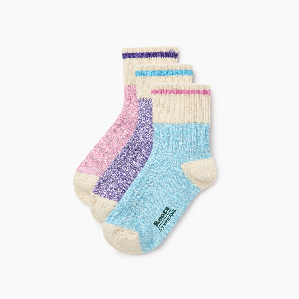 Roots-Kids New Arrivals-Kids Cotton Cabin Ankle Sock 3 Pack-Purple-B