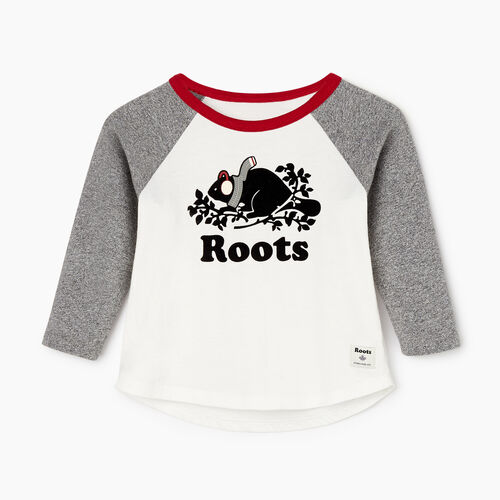 Roots-Kids Our Favourite New Arrivals-Baby Buddy Raglan T-shirt-Salt & Pepper-A