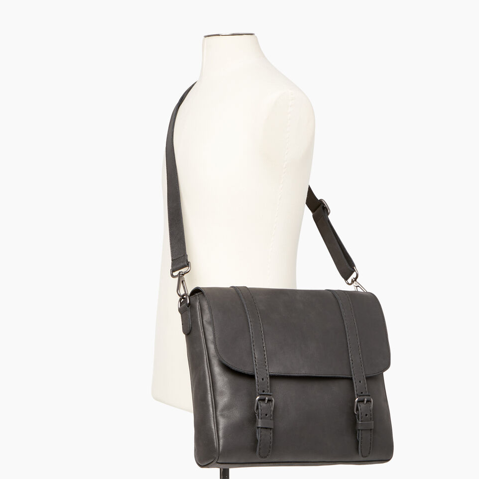 Roots-Leather Tribe Leather-Modern Satchel Tribe-Jet Black-B